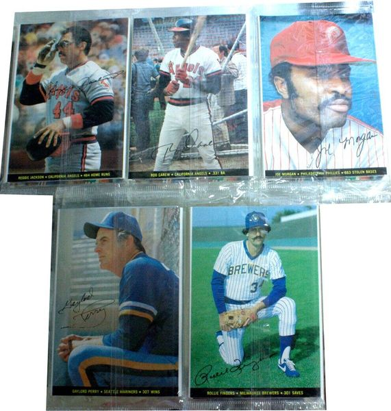1983 Topps Foldouts complete set of 5 sealed packages (Rod Carew Reggie Jackson Joe Morgan)