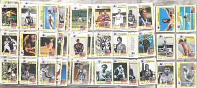 1983 Topps Greatest Olympians near complete card set in Ultra Pro Platinum sheets Cassius Clay Jim Craig Joe Frazier Jesse Owens