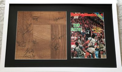1984-85 Villanova NCAA Champions team autographed basketball floor framed with SI cover (Ed Pinckney)