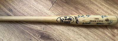 1984 USA Olympic Baseball Team autographed bat (Will Clark Barry Larkin Mark McGwire B.J. Surhoff)