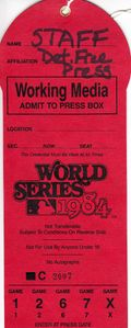 1984 World Series working media or press pass (Detroit Tigers over San Diego Padres)