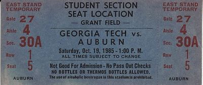 1985 Auburn Tigers at Georgia Tech Yellow Jackets football ticket (Bo Jackson 242 rushing yards)