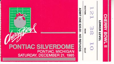 1985 Cherry Bowl football ticket stub (Maryland Terrapins 35 Syracuse Orangeman 18)