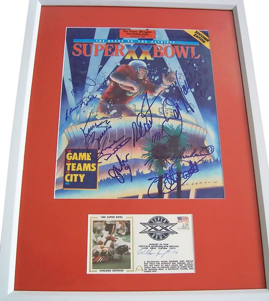 1985 Chicago Bears autographed Super Bowl 20 preview magazine cover framed Richard Dent Mike Ditka Dan Hampton Jim McMahon William Perry Mike Singletary