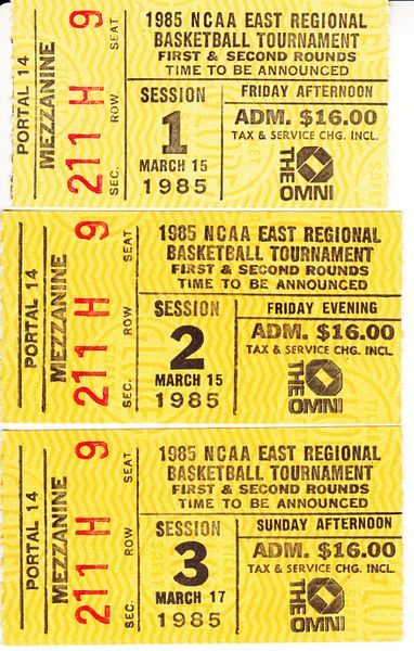 1985 NCAA Tournament East Regional Atlanta 1st and 2nd round ticket stubs (Georgia Tech)