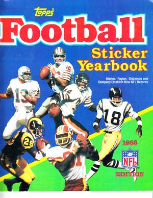 1985 Topps Football sticker album or yearbook (partly completed)