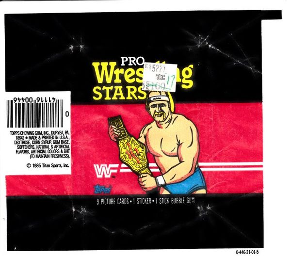1985 Topps Pro Wrestling Stars trading cards wax pack wrapper