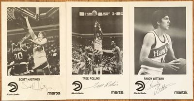 Set of 3 1986-87 Atlanta Hawks autographed photos Scott Hastings Tree Rollins Randy Wittman