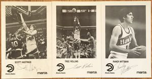 Set of 3 1986-87 Atlanta Hawks autographed photos (Antoine Carr Scott Hastings Cliff Levingston Tree Rollins Kevin Willis Randy Wittman)