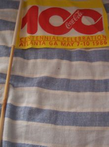 1986 Coca-Cola Coke Centennial Celebration mini flag