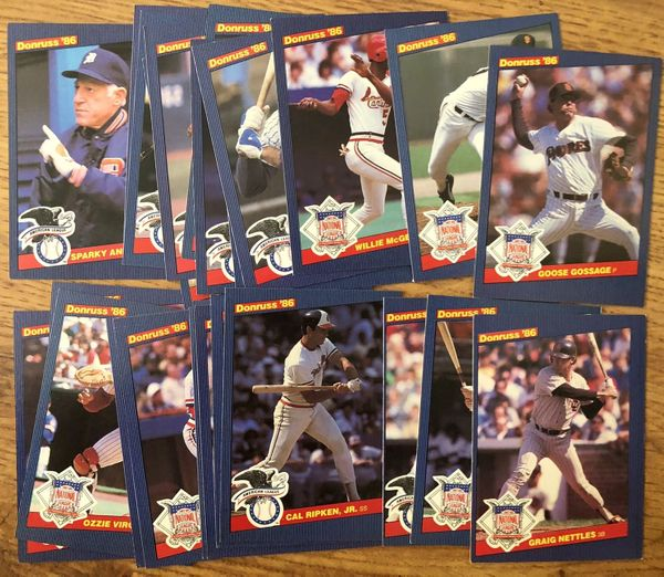 1986 Donruss All-Stars partial jumbo card set (Carlton Fisk Paul Molitor Eddie Murray Jim Rice Cal Ripken)