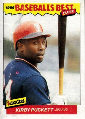 Kirby Puckett Minnesota Twins 1986 Fleer Sluggers vs. Pitchers box bottom card RARE (creased)