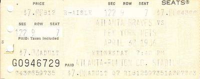 1986 New York Mets at Atlanta Braves ticket stub (Darryl Strawberry 5-for-5)