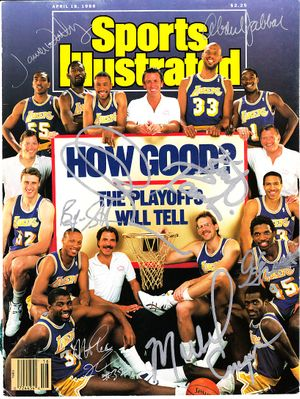 1987-88 Los Angeles Lakers team autographed Sports Illustrated cover (Kareem Abdul-Jabbar Magic Johnson Pat Riley James Worthy)