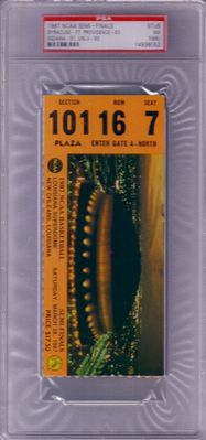 1987 NCAA Final Four Semifinals ticket stub graded PSA 7 (Indiana & Syracuse win)