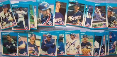 1987 Texas Rangers autographed Fleer team card set (Toby Harrah Charlie Hough Ruben Sierra)