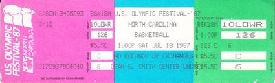 1987 U.S. Olympic Festival basketball ticket (J.R. Reid)