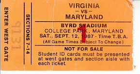 1987 Virginia Cavaliers at Maryland Terrapins football ticket stub