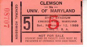 1988 Clemson Tigers at Maryland Terrapins football ticket stub