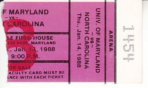 1988 North Carolina Tar Heels at Maryland college basketball ticket stub