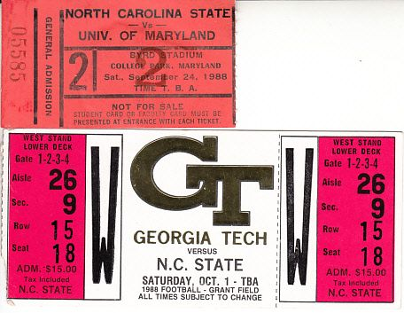 1988 North Carolina State Wolfpack football lot of 2 road game ticket stubs