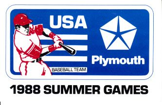 1988 USA Olympic Baseball Team original Plymouth official booster card