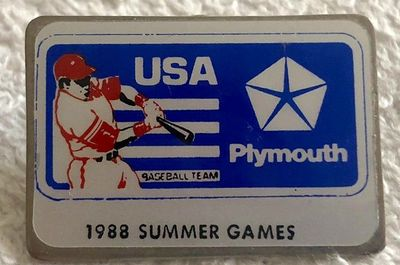 1988 USA Olympic Baseball Team original Plymouth pin RARE