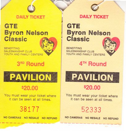 1989 GTE Byron Nelson Classic PGA Tour Saturday and Sunday golf tickets (Jodie Mudd wins)