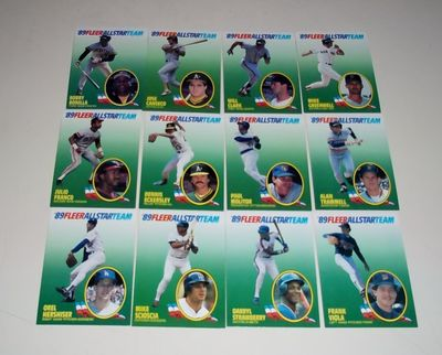 1989 Fleer All-Star Team 12 insert card set (Will Clark Dennis Eckersley Paul Molitor)