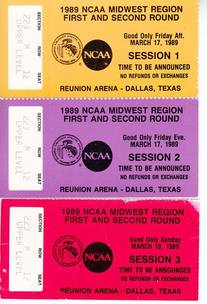1989 NCAA Tournament Midwest Regional Dallas 1st and 2nd round ticket stubs (Syracuse)