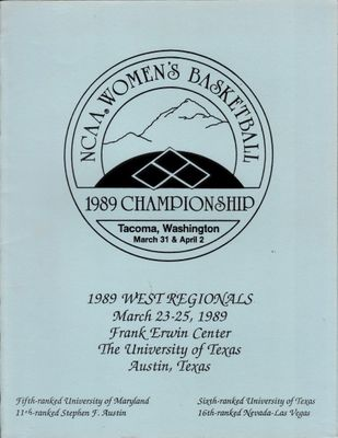 1989 NCAA Women's Basketball Tournament West Regional program and score sheet (Maryland advances to Final 4)