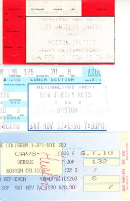 1990 Boston Celtics lot of 3 road game ticket stubs (Larry Bird)