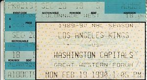 1990 Los Angeles Kings vs. Washington Capitals ticket stub (Wayne Gretzky game winning goal)