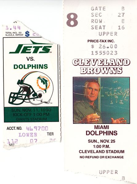 Lot of 2 1990 Miami Dolphins road game win ticket stubs (Dan Marino)