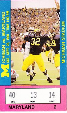 1990 Michigan Wolverines vs. Maryland Terrapins football ticket stub (Desmond Howard)