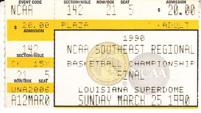 1990 NCAA Tournament Southeast Regional Final ticket stub (Georgia Tech advances to Final 4)