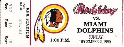 1990 Washington Redskins vs. Miami Dolphins ticket stub (Art Monk 10 receptions 2 TDs)