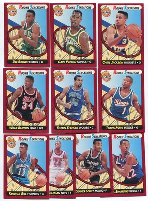 1991-92 Fleer Rookie Sensations basketball insert card set (Dee Brown Derrick Coleman Chris Jackson Gary Payton)