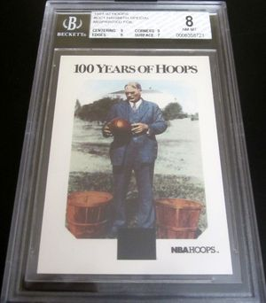 1991-92 Hoops James Naismith 100 Years of Basketball ERROR card CC1 graded BGS 8 NrMt-Mt