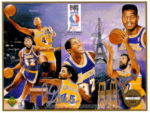 1991-92 Los Angeles Lakers autographed Upper Deck card sheet (Magic Johnson James Worthy)