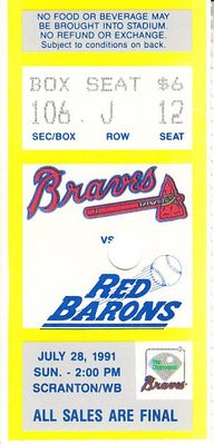1991 and 1992 Richmond Braves ticket stubs (Vinny Castilla Ryan Klesko Mark Wohlers)