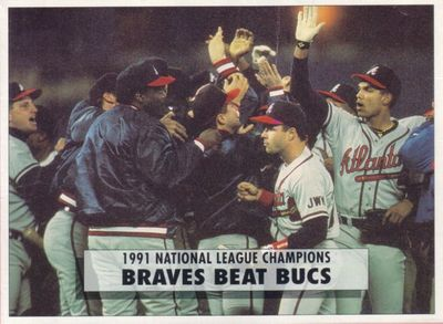 1991 Atlanta Braves National League Champions 1992 O-Pee-Chee 5x7 box bottom card