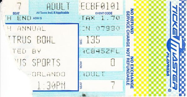 1991 Citrus Bowl ticket stub (Georgia Tech wins 1990 National Championship)