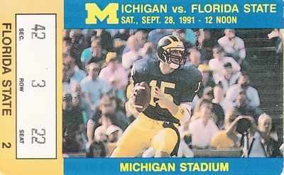1991 Florida State Seminoles at Michigan Wolverines college football ticket stub (Desmond Howard)
