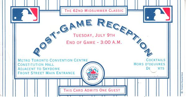 1991 MLB All-Star Game Post-Game Reception ticket