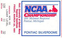 1991 NCAA Tournament Midwest Regional Semifinals and Final ticket stubs (Duke advances to Final 4)