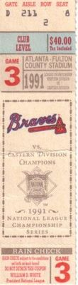 1991 NLCS Game 3 ticket stub (Atlanta Braves 10, Pittsburgh Pirates 3)