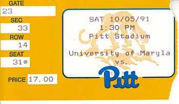 1991 Pittsburgh Panthers vs. Maryland Terrapins football ticket stub (Sean Gilbert)