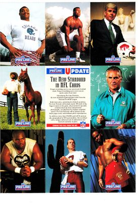 1991 Pro Line football 9 card promo sheet (Mel Blount Jack Kemp William Perry Don Shula Derrick Thomas)