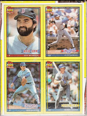1991 Topps box bottom panel of 4 baseball cards (Nolan Ryan Robin Yount)